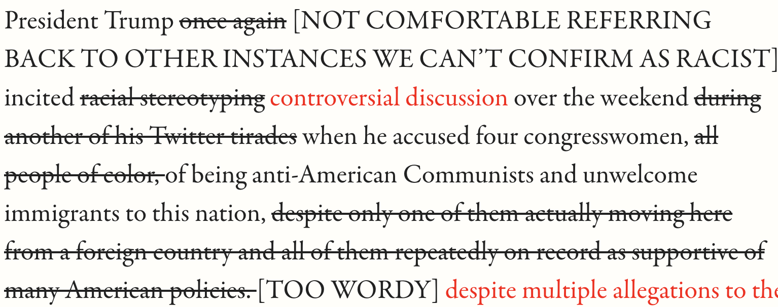 Editor Revisions to Your Article About Donald Trump's Most Recent Racist Tweets