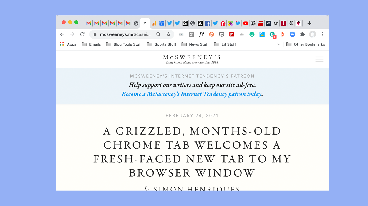 A Grizzled, Months-Old Chrome Tab Welcomes a Fresh-Faced New Tab to My Browser Window