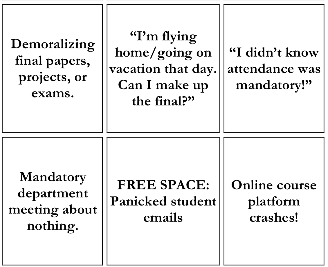 End of Semester Bingo