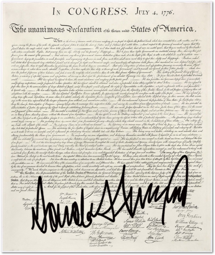 donald trumps signs the declaration of - The Declaration Of