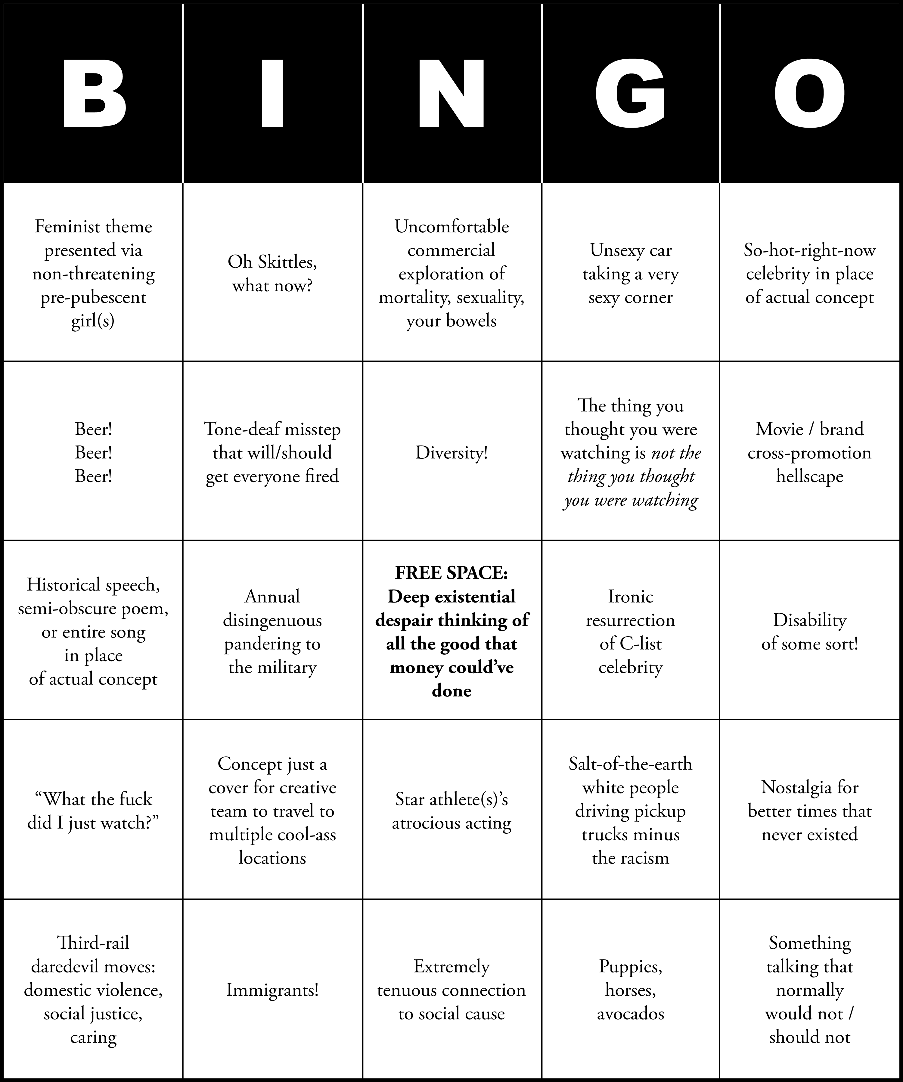 photograph about Printable Super Bowl Bingo Cards referred to as Tremendous Bowl Business Bingo - McSweeneys Website Inclination